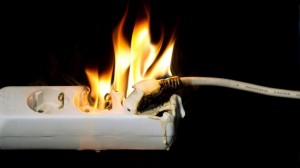If you plug a device with a faulty cable into an outlet, it might spark and cause a fire as well.
